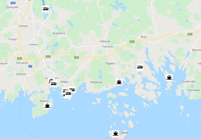 A map of motorhomes parking spots and guest harbours in Karlshamn