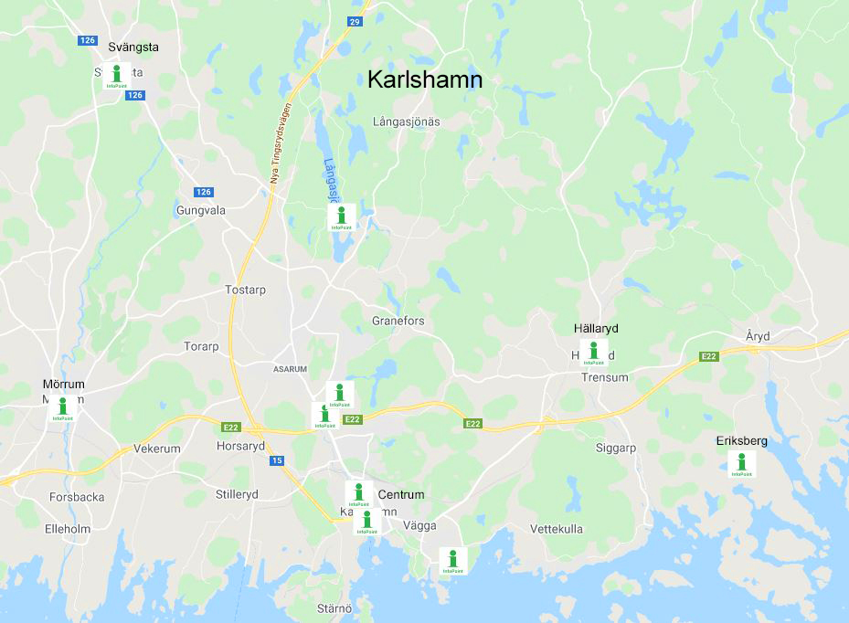 A map with all the InfoPoints in Karlshamn