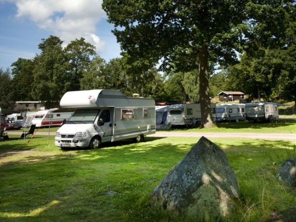 Motorhome parked at a camping spot